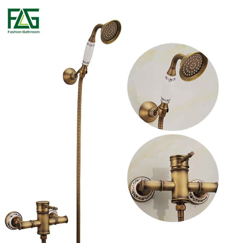 цена на FLG Bamboo Shower Faucet Wall Mounted Bathtub Tap With Ceramic Mixer Tap Antique Brass Bathroom Rain Shower Set HS006