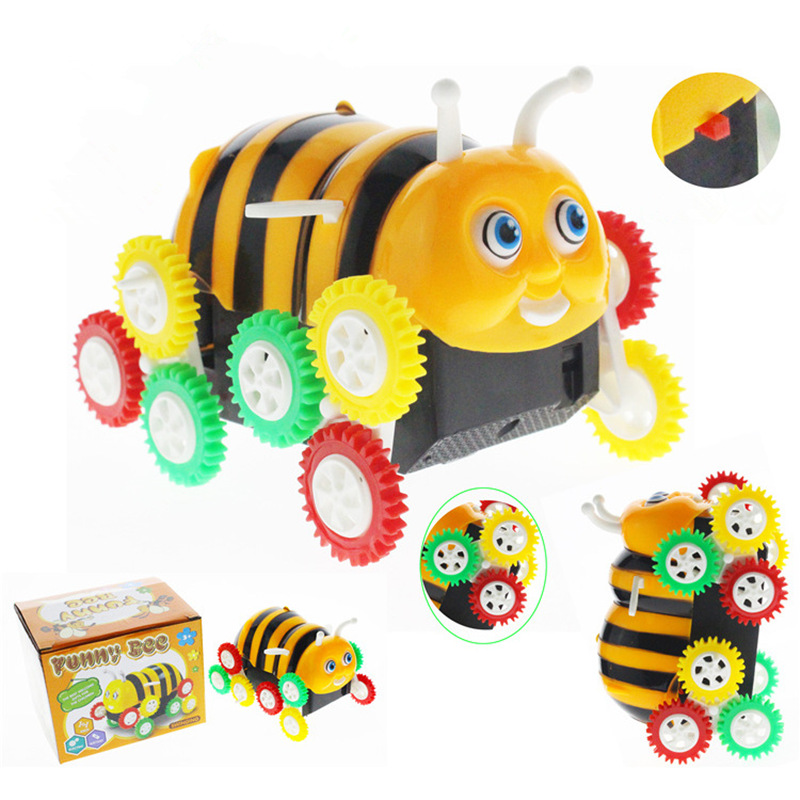 Creative Electric Tipping Bucket Bee Car Modle Colorful Kids Toys Mini Small Car Automatic Flipping Funny Toy For Child's Gift