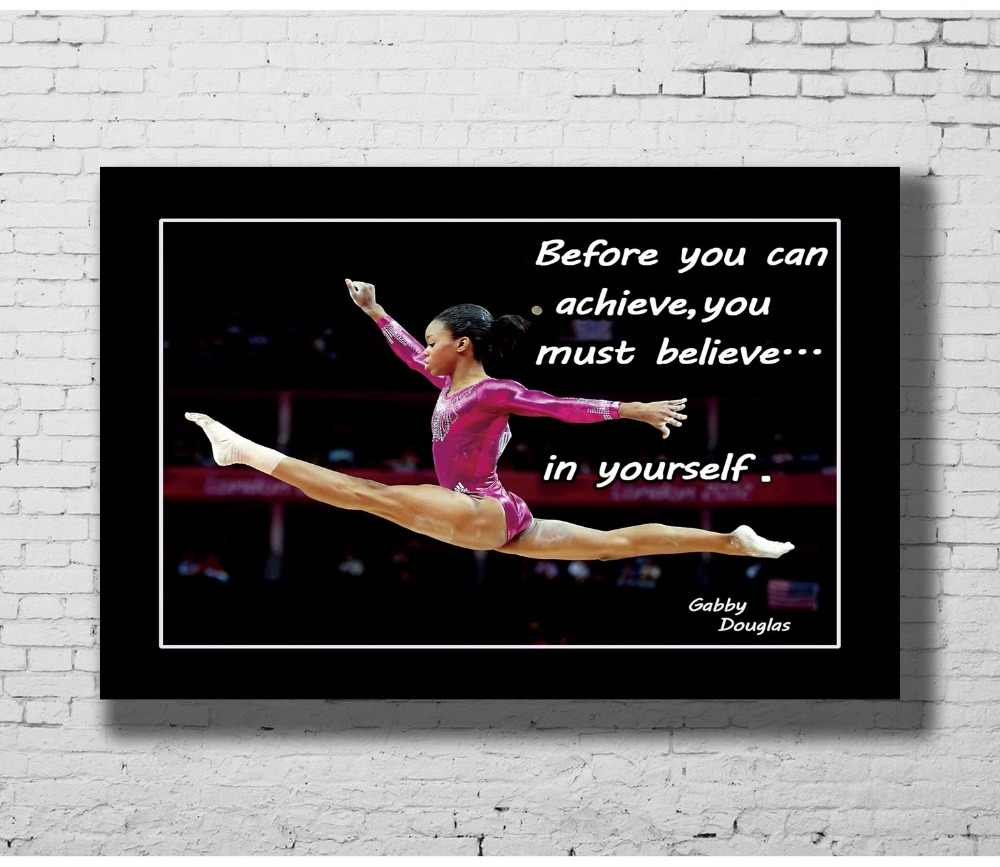 Gabby Douglas American Gymnastics Olympic Motivational Quotes Wall Sticker  Home Decoration Silk Art Poster