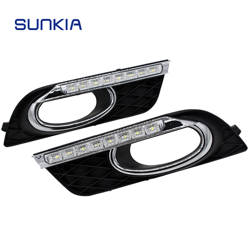 SUNKIA DRL LED Daytime Running Light For Honda Civic 2011-2015 With Yellow Color Turning Signal Lamp 12V Day Light okeen 1pair led drl cars daytime running light waterproof cob white color day light yellow color fog light turning signal 12v