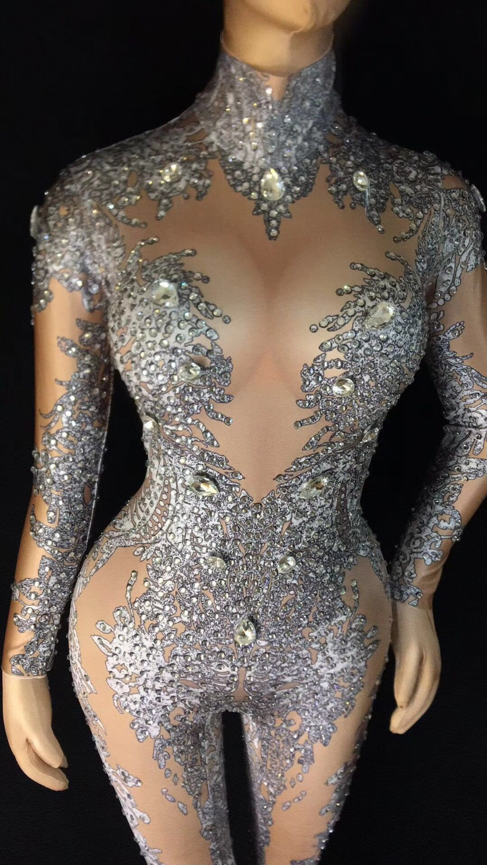 Discothèque Femmes Cristaux De Strass Sexy Danse Chanteuse Combinaison Scène Costume Nu Legging Gris Body Tenue 2018 4dqCayvqw