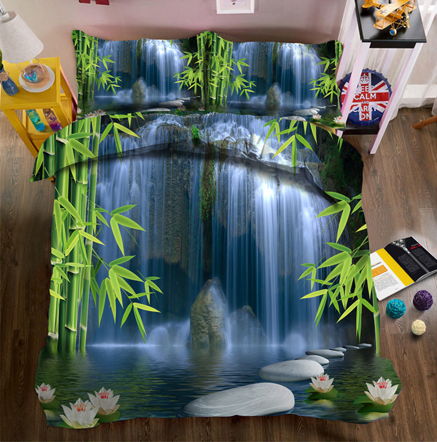 Bamboo and Cascade 3d effect photo bed linen can be customized photo patternBamboo and Cascade 3d effect photo bed linen can be customized photo pattern