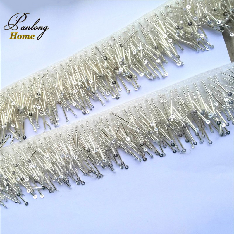 PanlongHome 4cm wide Gold/Silver 6 rows beaded fringe trim tassel for diy sewing Handmade beaded Hanging beads lace Tassels