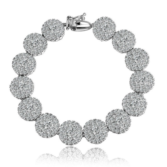 Pave Setting Zircon Inlay Top White Gold Plating Bracelet for Women