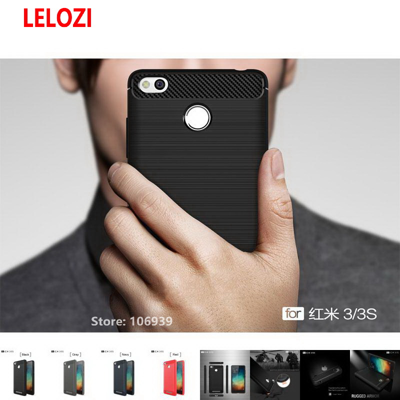 LELOZI Soft TPU Back Armor Rugged Carbon Fiber Brushed Men Phone Coque Etui Case caso Fo ...