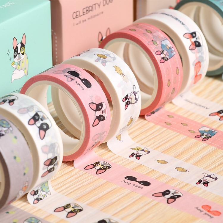 2 pcs/pack Smile French Bulldog Washi Tape Adhesive Tape DIY Scrapbooking Sticker Label Masking Tape 6 pcs lot creative mini colorful slim washi tape adhesive tape diy scrapbooking sticker label masking tape