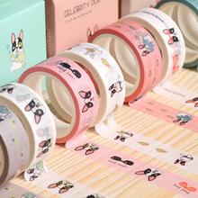 2 pcs/pack Smile French Bulldog Washi Tape Adhesive Tape DIY Scrapbooking Sticker Label Masking Tape