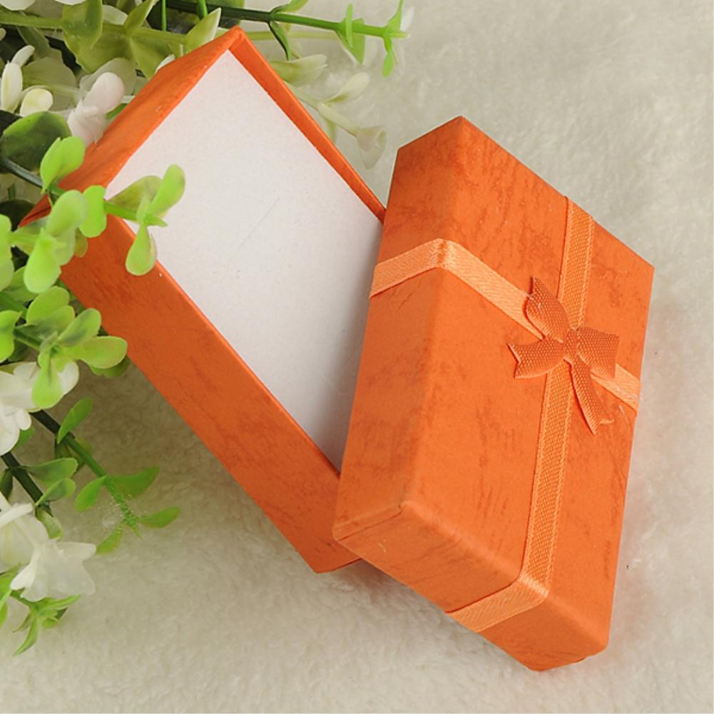 Red Beige Blue Black 8x5x2.5 16PCS jewelry earring bracelet earring ring gift box square carton bow case package