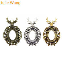 Julie Wang Antique Color Elk With Glass Cabochon Cameo Base Setting Blank Tray Charm Alloy Pendant Necklace Jewelry Making mibrow 10pcs lot stainless steel 8 10 12 14 16 18 20mm blank french lever earring tray cabochon setting cameo base jewelry