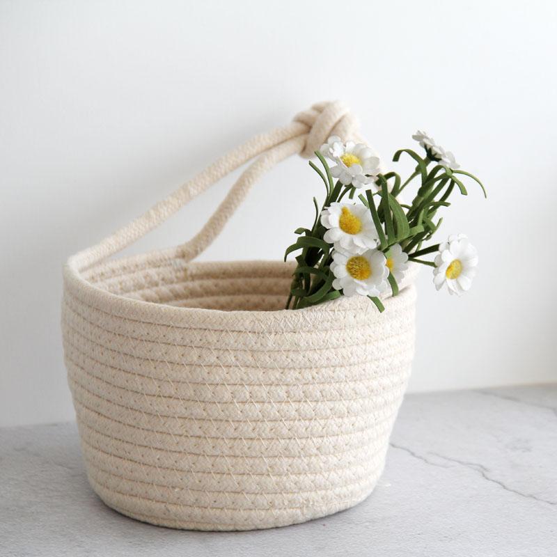 Storage-Basket Cosmetics Nordic-Style Organizers Snacks Cotton Home-Supplies Debris