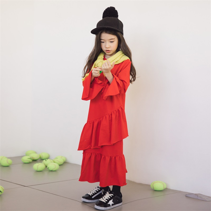 все цены на 2018 Winter Autumn Girls Long Dress Girl Cotton Clothing Fashion Brand Kids Clothes Children Red Dress 3 4 5 6 7 8 10 12 Years онлайн