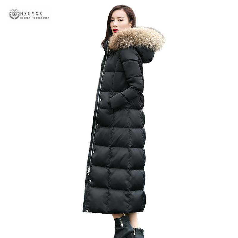 Fashionable Women   Down     Coat   2019 New Sale Natural Fur Collar Winter Outerwear X-Long Thick Warm White Duck   Down   Jackets OK1189