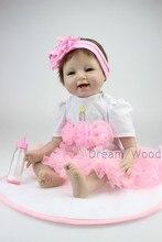 55 cm souple en silicone reborn baby poupée vêtements faits à la main petite fille poupée reborn brinquedos éducation précoce reborn baby poupées