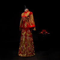 Vintage Red Bride Marry Dress Ancient embroidered phoenix royal palace costume Traditional Chinese Women Wedding Cheongsam