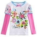 Chica t shirt O cuello de manga larga camiseta para niñas niños primavera/otoño ropa larga impresa floral de la muchacha de 100% algodón camiseta