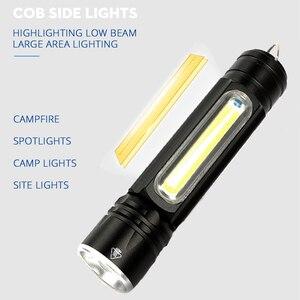 Image 3 - Многофункциональный светодиодный светильник вспышка с USB внутри, перезаряжаемый аккумулятор, Мощный T6 фонарь, боковый COB светильник, дизайнерский фонарь, задний фонарь
