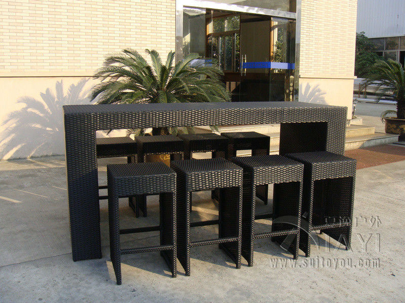 7pcs Handweaving Design Rattan Furniture Restaurant Outdoor Bar Furniture  Bar Chair And Table Leisure Chair Transport