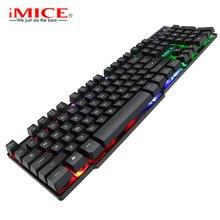 IMice teclado mecánico de imitación para videojuegos teclado con retroiluminación y cable USB, teclados para juegos para DOTA CS con pegatinas RU