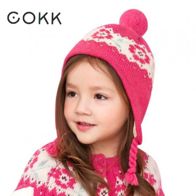 4daf81f9 COKK Winter Hats For Girls Children Thick Warm Velvet Cute Baby Hat Cap  Kids Accessories Ear Protect Beanie Ear Flap Pompom 52cm