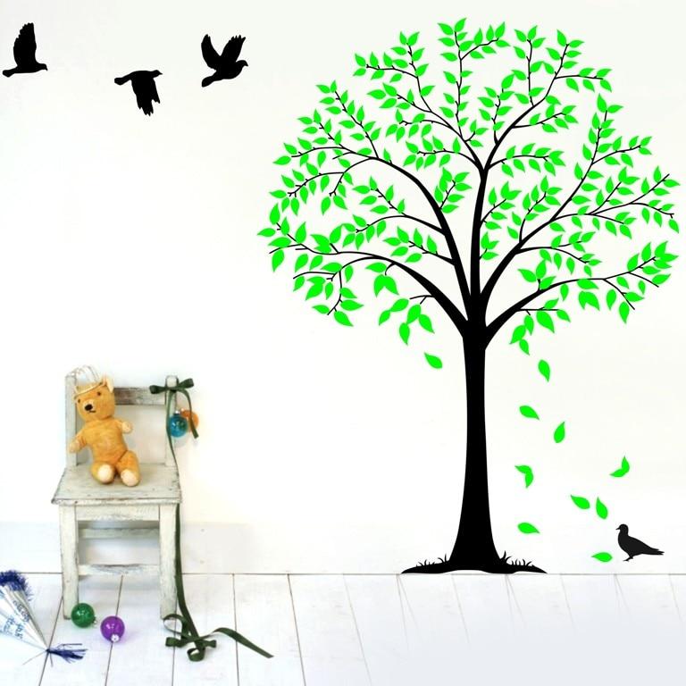 cca94e725 عائلة كبيرة الغابة شجرة الطيور جدار صائق ملصق لتزيين المنزل DIY الفينيل الفن  الاطفال غرفة نوم الحضانة الجدار ملصق Vinilos Parede D832