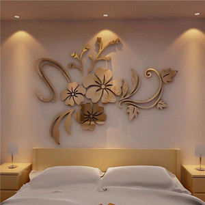 3D DIY Mirror Wall Stickers Floral Art Removable Wall Sticker Acrylic Mirrored Decorative Sticker Wall Decal Home Decoration J25