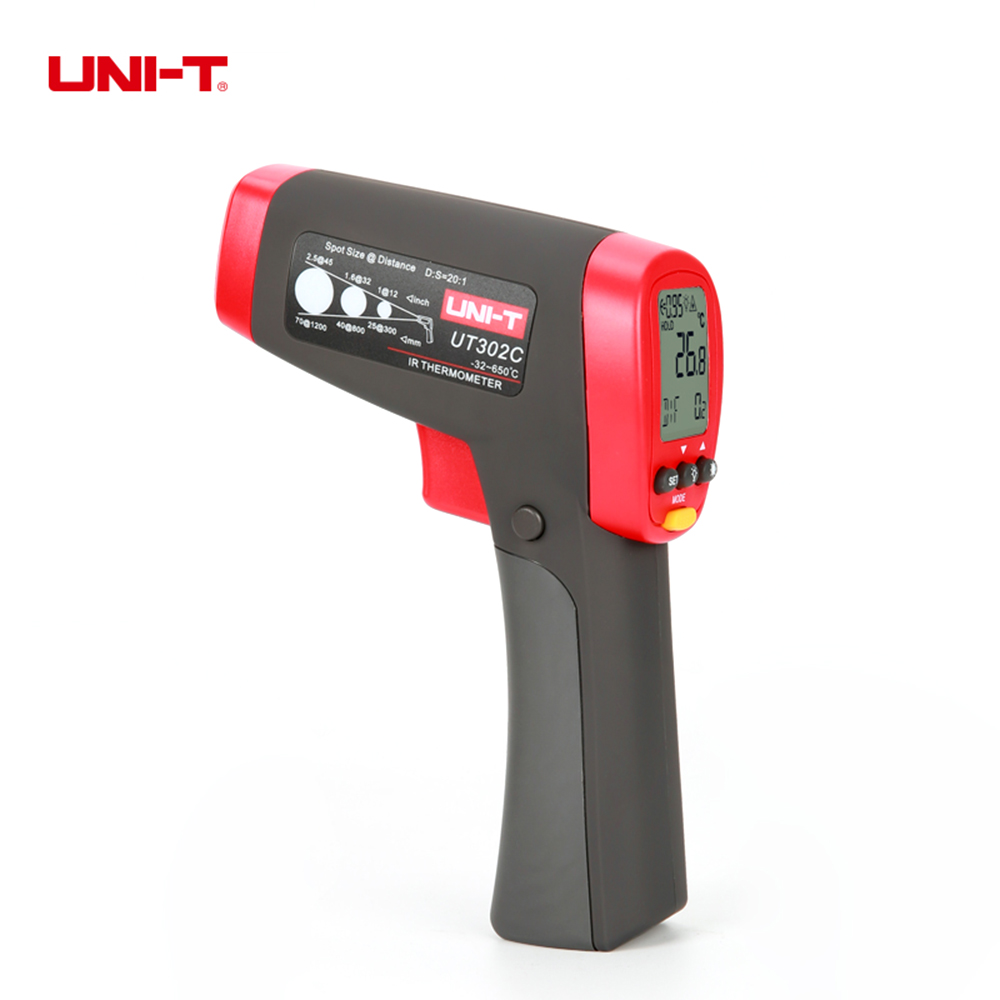 Infrared Thermometers Non-Contact Digital IR Thermometer Distance to Spot Size 20:1 UNI-T UT302C uni t ut302c 32 c 650 c infrared thermometers ut 302c non contact digital ir thermometer distance to spot size 20 1