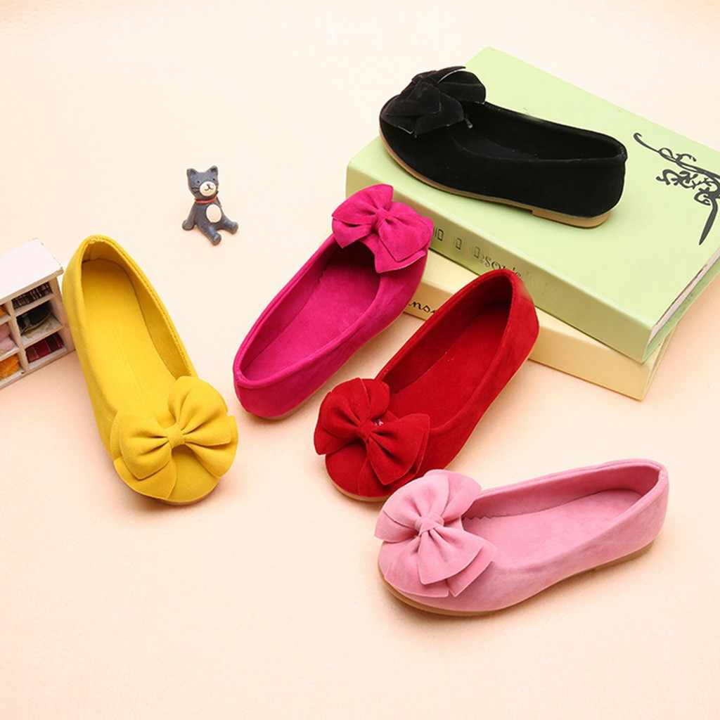 Children Shoes Girls Casual Children Shoes Casual Spring Daily Shoe Soft Sole Bowknot Single Soft Lazy Dance For Princess Shoes