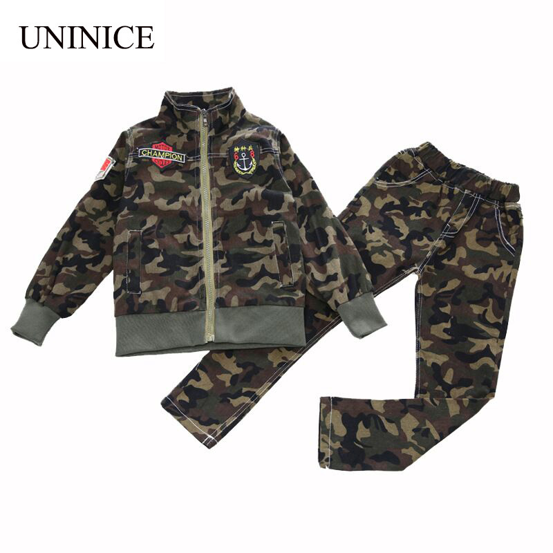 UNINICE 2017 Autumn Teenager Boys Girls Children Clothing Set 2pcs Camouflage Tracksuit + Pants For Boys Kids Clothes Sets купить
