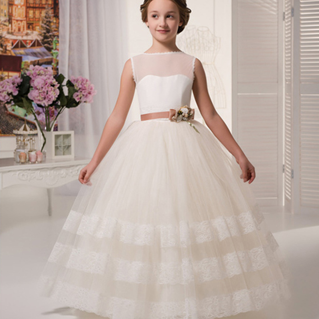 5f2dc8f74fd Ball Gown Scoop Sleeveless Appliques First Communion Dresses For Girls  vestidos de primera comunion Flower Girl Dresses
