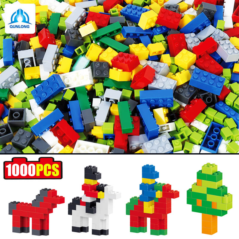 1000pcs DIY Colorful ABS Plastic Building Blocks Bricks Educational Kids Figures Brinquedos Toy Gift Compatible Legoe Duplo Toy