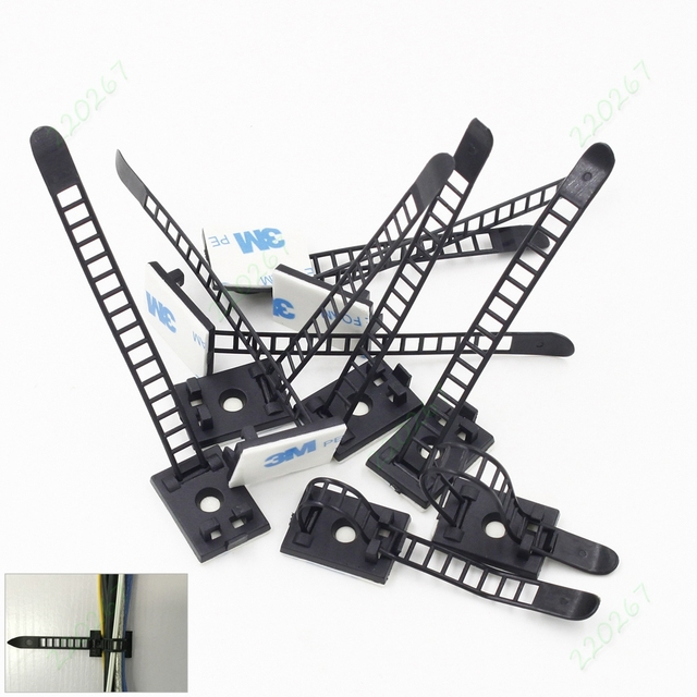 10pcs Self Adhesive Adjustable Wire Fixing Clamp Cable Tie Mount ...