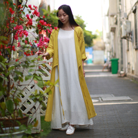 Spring Women Cloak Hand Drawing Lark Yellow Cardigan Cotton Linen Thin Trench Coat 9 Points Sleeve