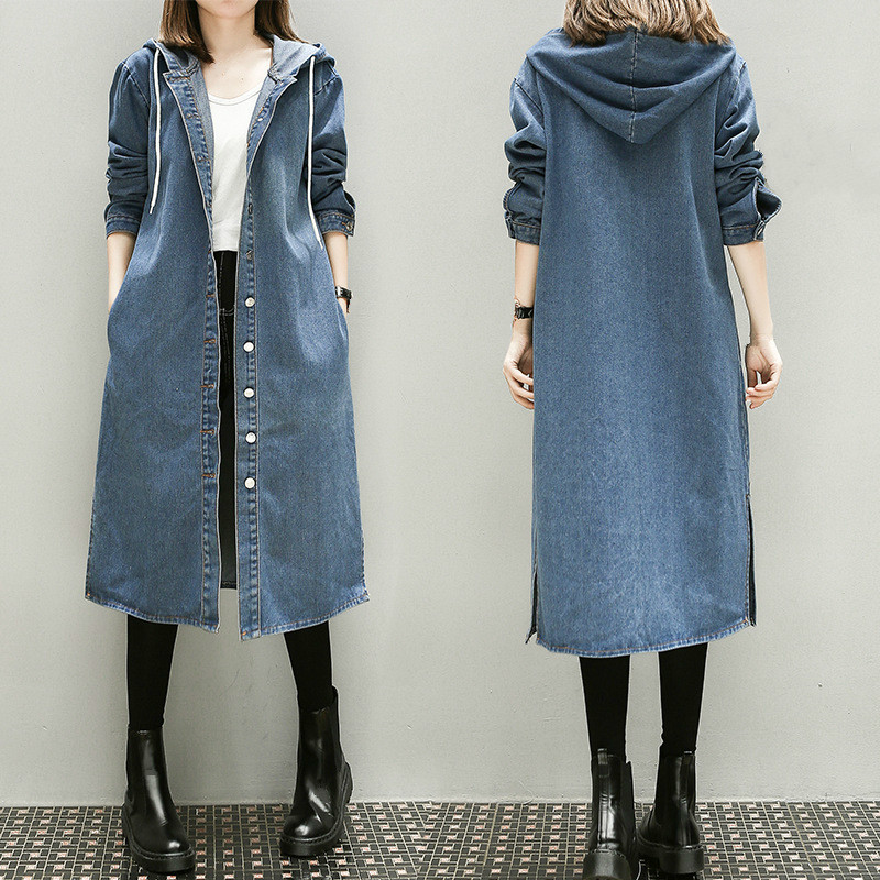 Girls Autumn Long Sleeve Large Size 3xl 4xl 5xl Women Long Denim Windbreaker Female Overcoat Hooded Blue Trench Coat Streetwear