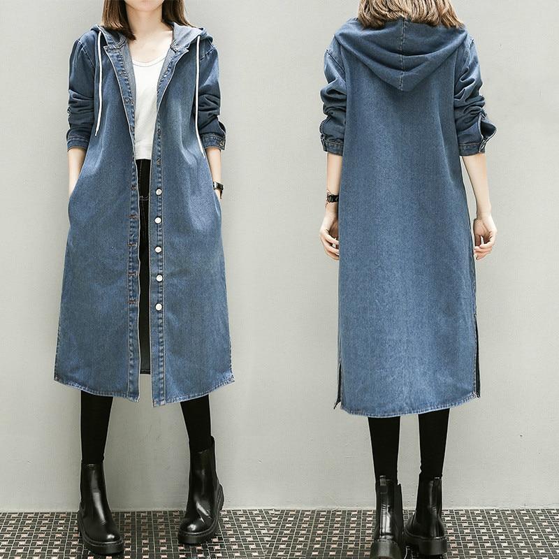 Girls Autumn Long Sleeve Large Size 3xl 4xl 5xl Women Long Denim Windbreaker Female Overcoat Hooded Blue   Trench   Coat Streetwear
