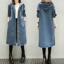 Girls Autumn Long Sleeve Large Size 3xl 4xl 5xl Women Long Denim Windbreaker Female Overcoat Hooded