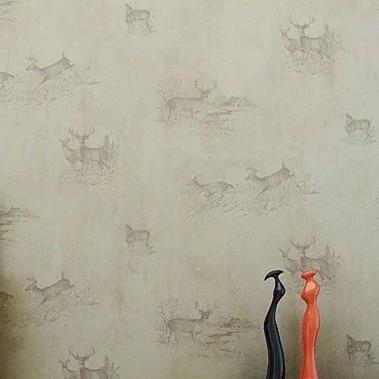 Retro Deer Wallpaper Roll Mural Background papel de parede Vintage Home Decor Kids Room Textile DZK107 wholesale vintage mural 3d brick stone room wallpaper vinyl waterproof embossed wall paper roll papel de parede home decor 10m