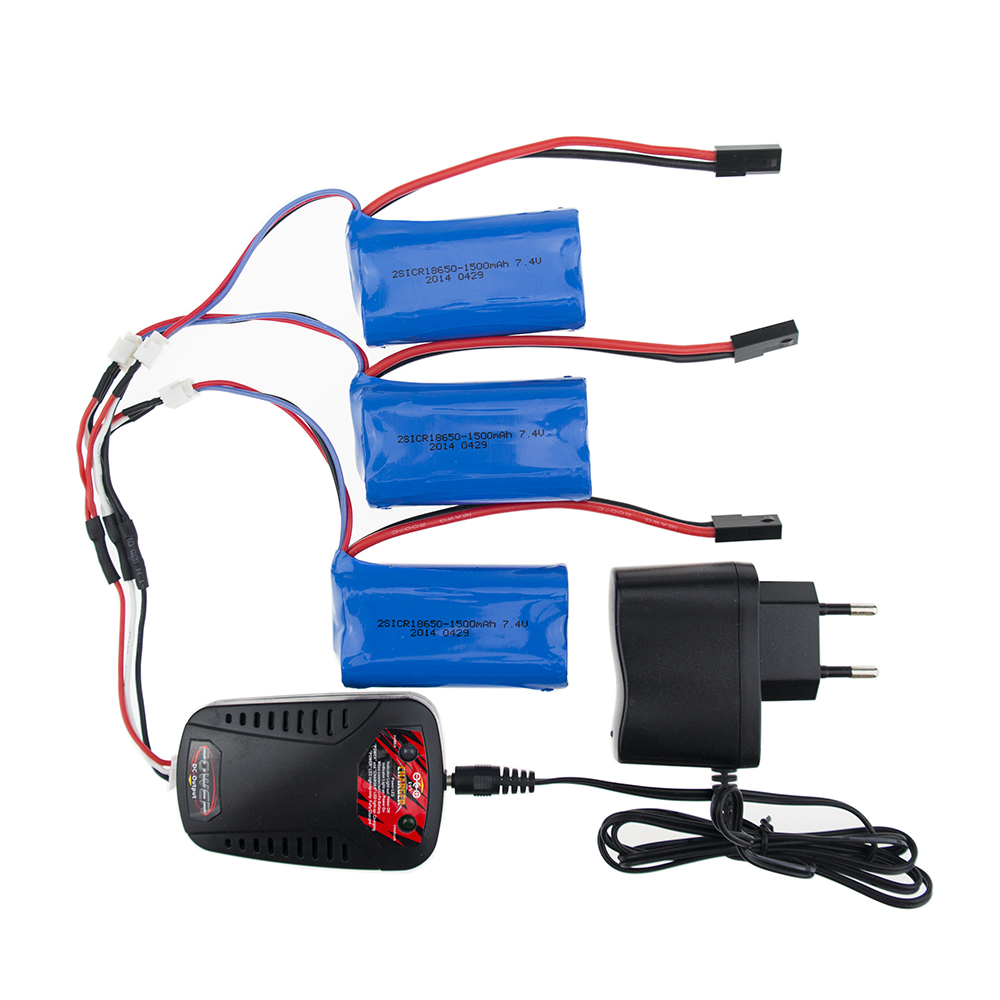 Li-ion batteries 7.4V 1500mah 2s Battery 2 or 3pcs and charger For MJX T40RC Quadcopter drone part wholesale 3pcs battery and european regulation charger with 1 cable 3 line for mjx b3 helicopter 7 4v 1800mah 25c aircraft parts