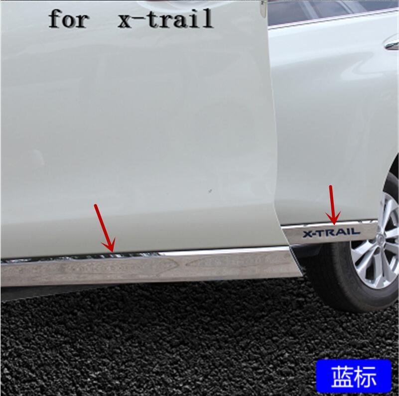 Décoration de porte latérale de moulures latérales de carrosserie d'acier inoxydable pour Nissan x-trail t32 2014 2015 2016 2017 2018 style de voiture