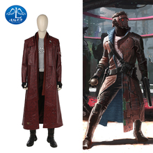 ManLuYunXiao Guardians of the Galaxy 2 Star-Lord Peter Outfit Men Halloween Cosplay Costume Scarf Trench Leather Suit