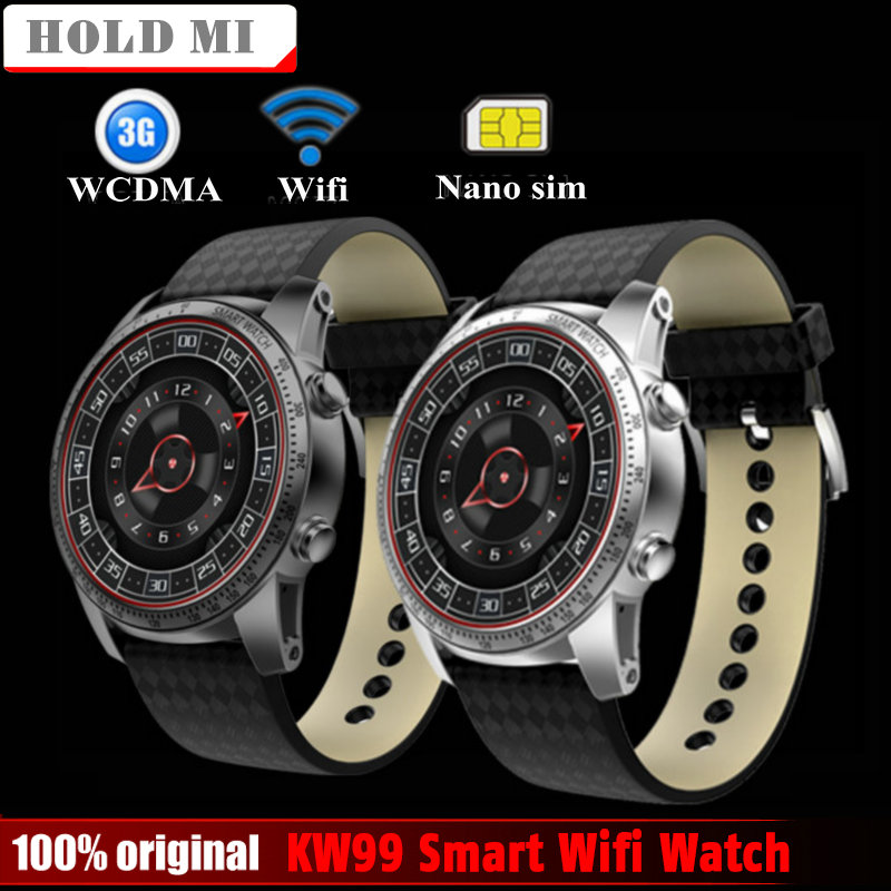 Hold Mi KW99 Smart Watch Phone MTK6580 3G WIFI GPS Watch Men Heart Rate Monitoring Bluetooth Smartwatch Android Phone PK KW88 no 1 d6 1 63 inch 3g smartwatch phone android 5 1 mtk6580 quad core 1 3ghz 1gb ram gps wifi bluetooth 4 0 heart rate monitoring