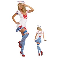 Sexy Sailor Sweetie Party Halloween Costumes For Women Blue Girl Costumes Dress Set Halloween Costume