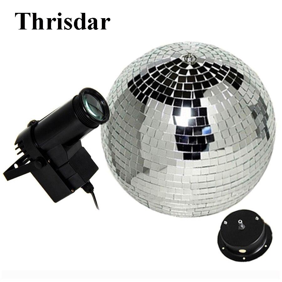 Thrisdar D15 20 25CM Rotating Reflective Mirror Ball With Motor + 10W RGB Beam Pinspot Disco DJ Stage Light KTV Bar Party Light