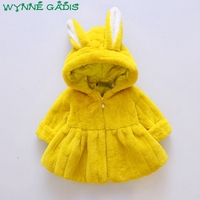 WYNNE GADIS Winter Baby Faux Fur Fleece Cartoon Cute Rabbit Ear Long Sleeve Hooded Girls Jacket