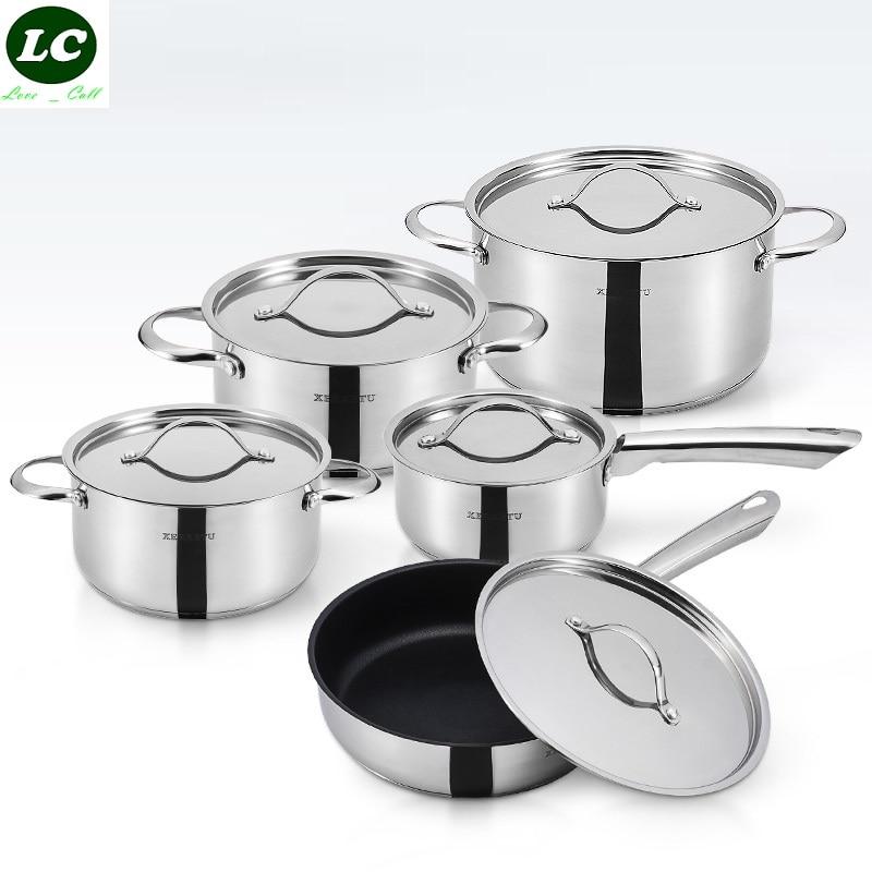 FREE SHIPPING HIGH QUALITY 10pcs casseroles pots set pans FDA COOKING POT STEAK FRYPAN stainless steel <font><b>cookware</b></font> set