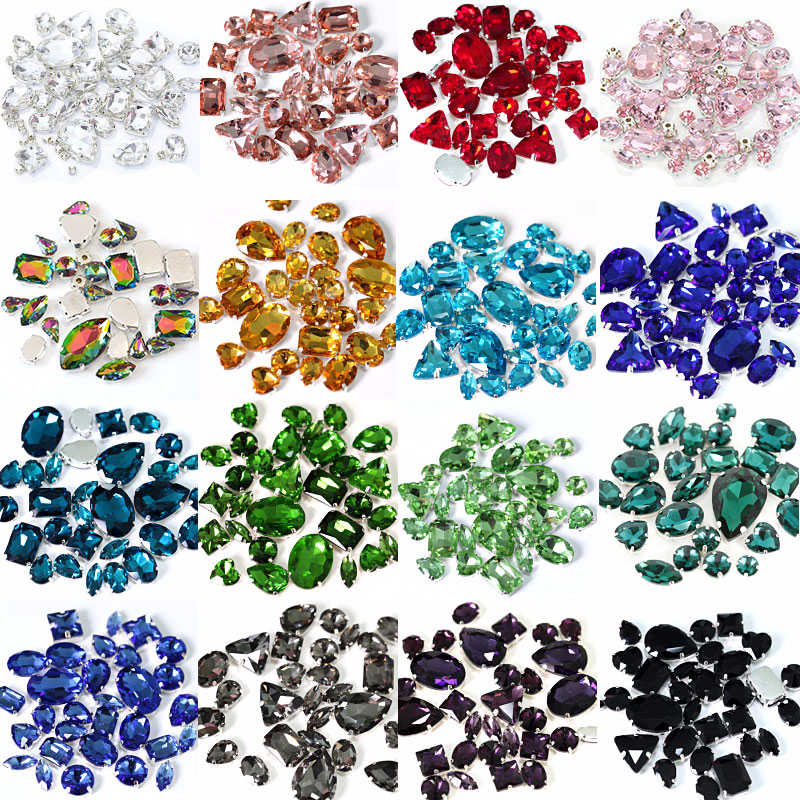 50pcs/pack Mix Shapes Glass Crystal Colorful Sew On Rhinestones With Silver Claw White Sew On Claw Rhinestones For Dess B0946
