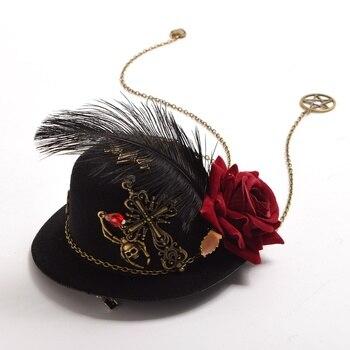 Шляпка готическая лолита крест с розой