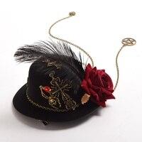1ピースロリータ女の子花クロス羽ギアヘアクリップゴスヴィンテージスチームパンクミニトップハット魅惑的な帽子