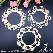 3pc lace border circle frame Natural laser Wood Chips Embellishments Scrapbooking Crafts Handmade card Art Album Alinacraft(China)