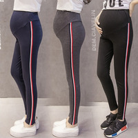 2018 Pregnant Women Pencil Pants Side Striped Blending Skinny Leggings Maternity High Waist Stretched Belly Pregnancy Clothing