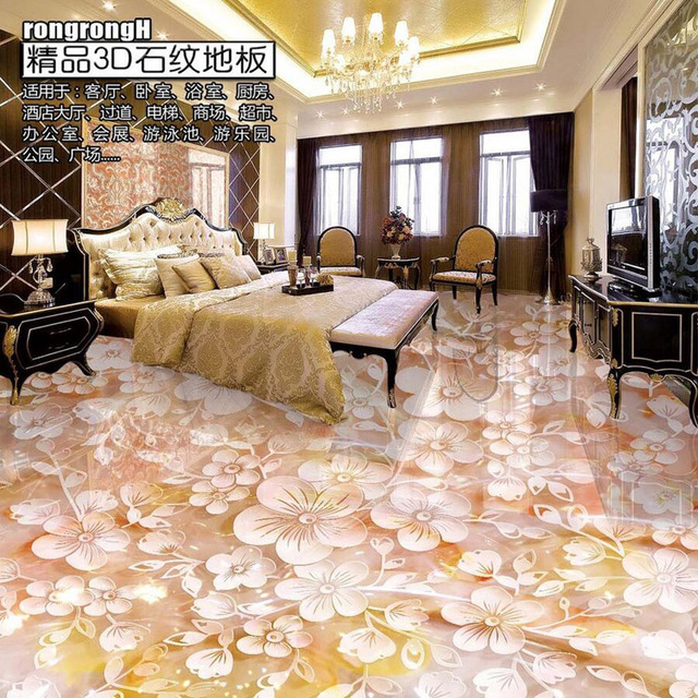 Beautiful Flores Convallariae Floor Wallpaper Custom 3D Flooring PVC  Wallpaper Living Room Bedroom Floor Wallpaper